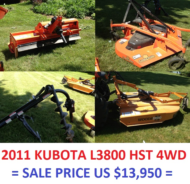 2011 KUBOTA L3800 HST 4WD loader, brush hog, mower