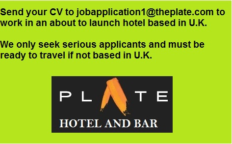 The Plate Hotel and Bar Vacancies