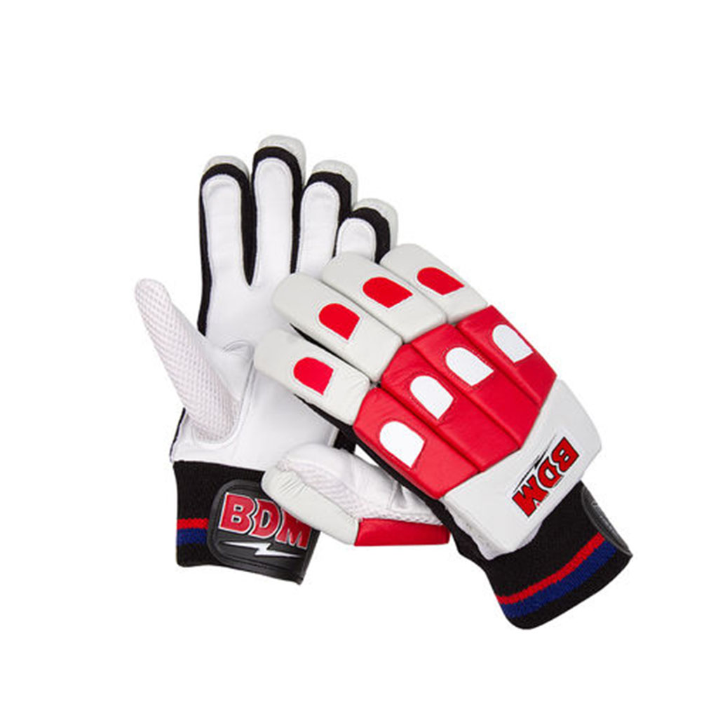 BDM Galaxy Batting Gloves White Red and Black
