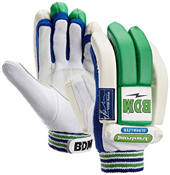 BDM Armstrong Batting Gloves White and Blue Youth