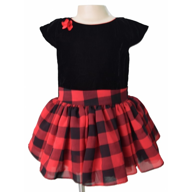 Party Dresses for Kids in Black and Red Checks by
