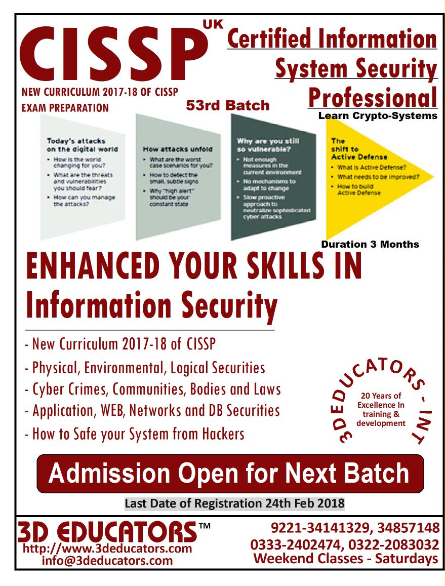 CISSP - CERTIFIED INFORMATION SYSTEM SECURITY PROF