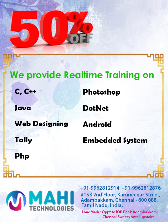 WEB DESIGN Training in Chennai @ Mahi Technologies